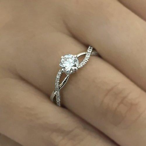 7ac4afd34 Amazon.com: Round Cut Diamond Engagement Ring 14k White Gold Palladium Platinum  Infinity Handmade Diamond Ring Art Deco Anniversary Ring: Handmade