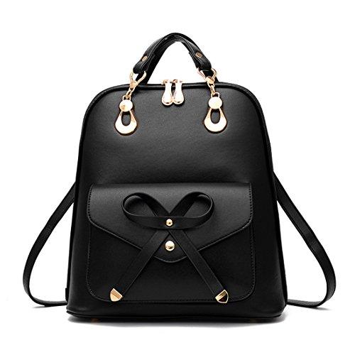 DFMP - Bolso mochila de Charol para mujer negro