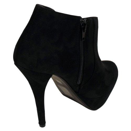 Heel Boot Ankle Shoe Suede Platform Faux Black Ladies Shoes Womens Stiletto Boots qxw8z1t