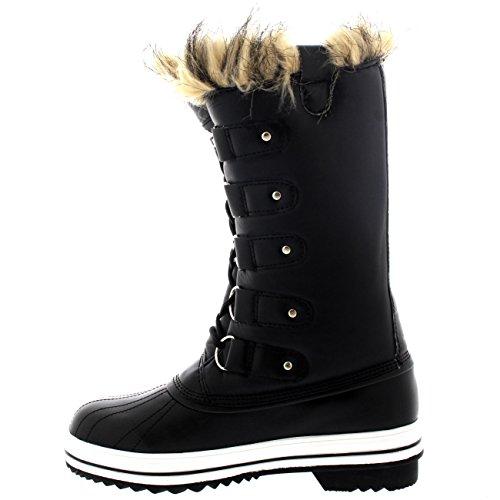 Zapato Lluvia Negro Polar Mujer Invierno Piel Cordones Caucho De Cuero Botas Manguito w68w0qOg