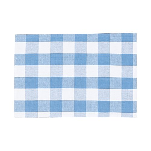 C&F Home Franklin Buffalo Check Gingham Plaid Woven Cornflower Blue and White Single Cotton Placemat Rectangular Placemat Cornflower ()