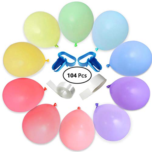 Jjyee Party Balloons Pastel Assorted Color 12 inches Rainbow Set Helium Or Air Use for Birthday Decoration(104 Pcs) ()