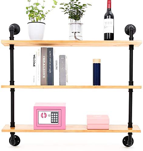Yuanshikj 2Pc 35 Tall Industrial Wall Mount Iron Pipe Shelf Shelves Shelving Bracket Floating Rustic Heavy Duty Retro DIY Open Bookshelf Bookcase Storage Office Home Holder Black Hardware Only