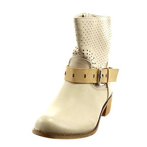 Sopily - Zapatillas de Moda Botines cavalier Tobillo mujer perforado Hebilla Talón Tacón ancho 4 CM - Beige