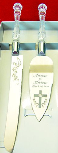 Double Rings & Cross Engraved Wedding Cake Knife / Server Set Names and Date FREE !