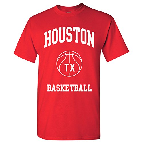 Houston Classic Basketball Arch Basic Cotton T-Shirt - Medium - Red