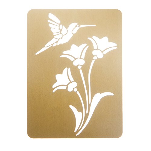 Darice Brass 3-1/4 Inch by 2-1/4 Inch Embossing Stencil, Bird and Flower