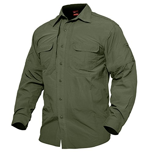MAGCOMSEN Quick-Dry Outdoor UPF 50+ Sun Protection Long-Sleeve Shirt for Hiking Hunting Picnic Training