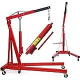 EBERTH 1000 kg Hydraulic Workshop Crane 1050-1590 mm Boom, 6 Castors, Foldable, Robust Cylinder