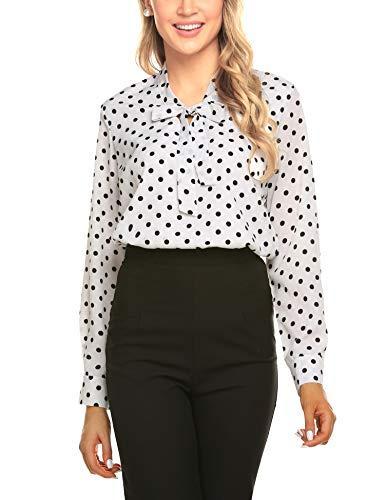 ACEVOG Women's Fashion Blouses Long-Sleeve V-Neck Bow Tie Blouse,White Polka Dot,Medium
