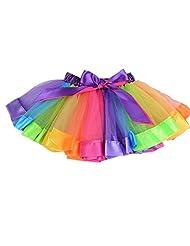 MeQi Girls Layered Rainbow Tutu Skirt Toddlers Dance Dress
