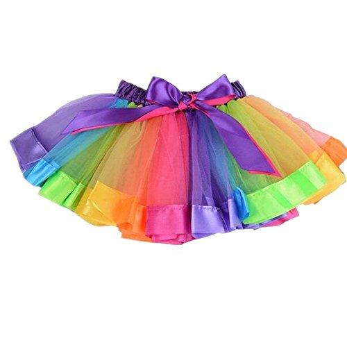 MeQi Girls Layered Rainbow Tutu Skirt Toddlers Dance Dress - Children's Rainbow Tutu
