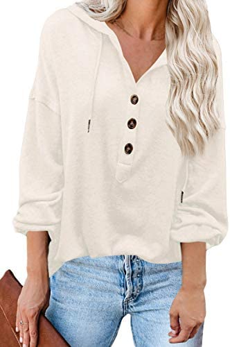 Valiamcep Women's Sweatshirts and Hoodies Drawstring Deep V Neck Button Down Pullover Tunic Top