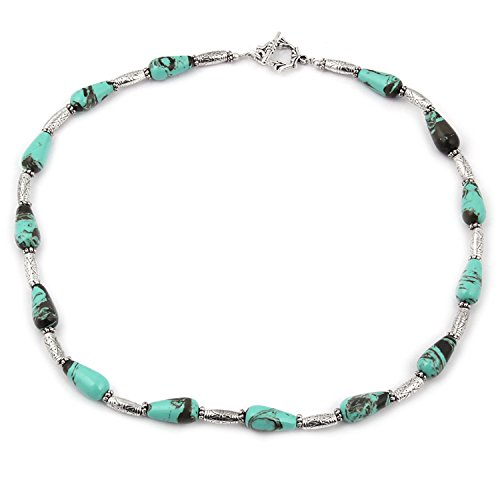 Pearlz Ocean Women's Metal & Silver Strand Necklace Set -Blue, Silver & Turquoise
