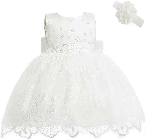 8f7b3a54e0f Michealboy Baby Girl Newborn 3D Flower Party Floral Dresses Pagent Lace Dress  Gown for Baby Girls