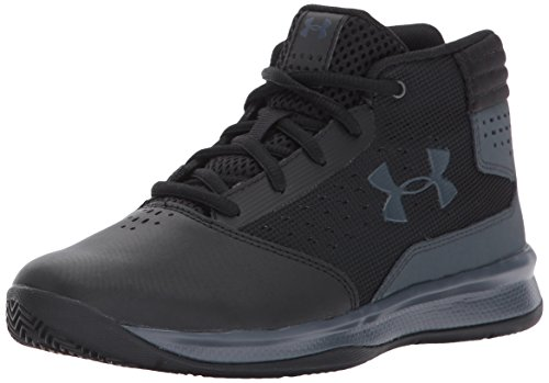 Under Armour Boys' Pre School Jet 2017 Basketball Shoe, Black (001)/Rhino Gray, 2.5