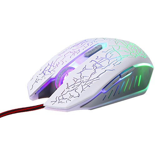 Docooler Gaming Mouse Wired RGB Ergonomic Game Mouse USB Computer Mice PC Laptop Gaming Mouse(White)