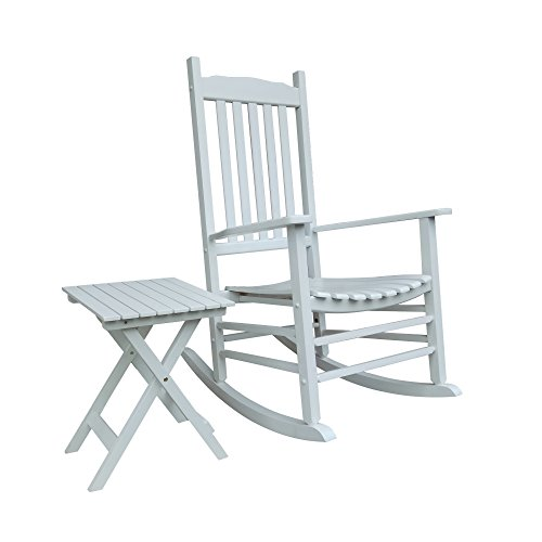 WT White Porch Rocker With Side Table - Set of 2 pcs Good Price!!! ()