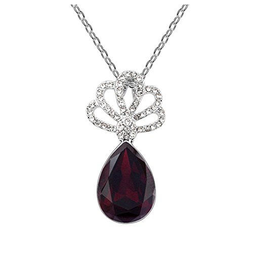 Gold Plated Crystal Necklace Hibiscus Water Environmentally Friendly Alloy Pendant necklace1
