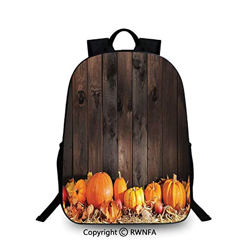 Kids School Backpack,Thanksgiving Themed Pumpkins Many Shapes and Sizes in Hay Wooden Board Background Decorative Plain Bookbag Travel Daypack Brown Orange -