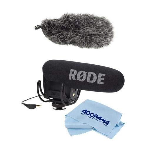 Rode Microphones VideoMic Pro R Cardioid Condenser Microphone with Rycote Lyre Shock Mount for DSLR Cameras - Bundle with Rode Microphones DeadCat VMPR Artificial Fur Wind Shield, Microfiber Cloth