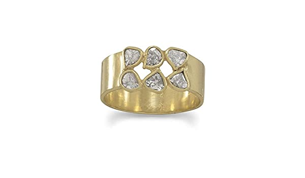 Yiwanjia 2pcs//Set Gold-Plated Zircon Ring Engagement Wedding Anniversary Party Ring Size 5-10