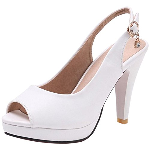 TAOFFEN Women Summer Sling Shoes Back Strap Sandals White Dn5psf6
