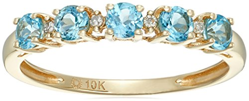 10k Yellow Gold Swiss Blue Topaz and Diamond Accented Stackable Ring, Size 7