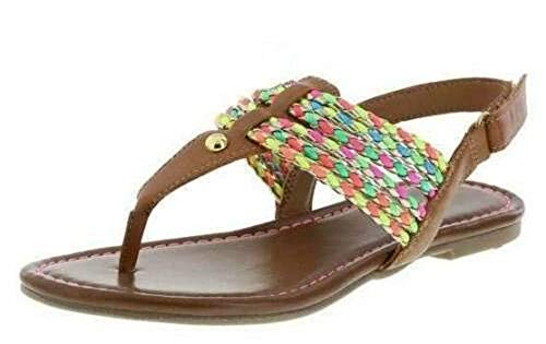 American Eagle AE Little Girls Brown Rope Sandals Shoes (11, Brown Multi)