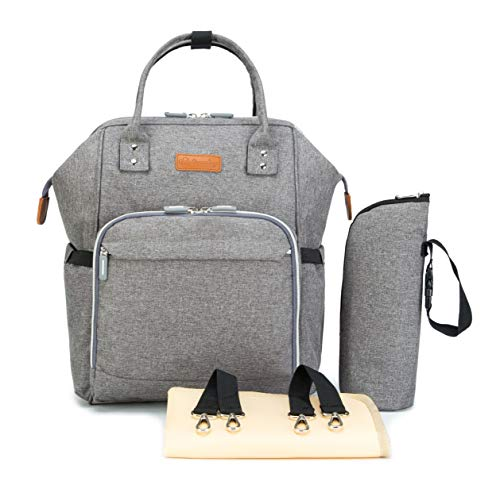 - Ankommling Diaper Bags Backpack with Changing Pad, Waterproof Fabric, Multi-Function Travel Diaper Bags, Large Capacity and Wide Open Design, Double Shoulder Nappy Backpack Diaper Bag (Gray)