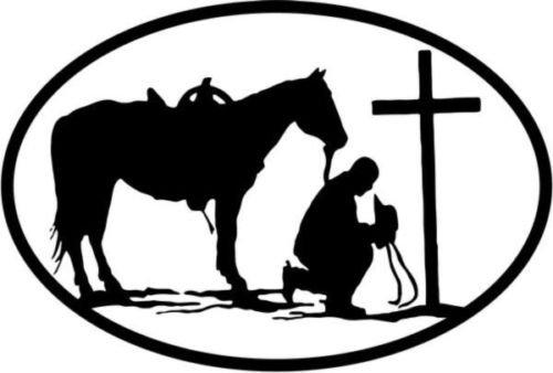 (Cowboy Praying Cross Symbol Vinyl Graphic Car Truck Windows Decor Decal Sticker - Die cut vinyl decal for windows, cars, trucks, tool boxes, laptops, MacBook - virtually any hard, smooth surface)
