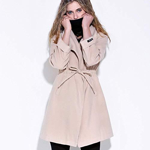 Tasche Giaccone Bavero Qualità Lunga Solidi Laterali Outerwear Colori Beige Manica Trench Vento Donna Giacca Abbigliamento Slim Alta Di Invernali Coulisse Fit 0qZ4Avw