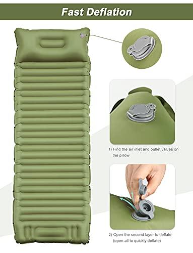 41JUX5XPIvS YISSVIC Isomatte Camping Selbstaufblasbare Luftmatratze mit eingebauter Pumpe Verdickte Schlafmatte Outdoor mit Kissen…