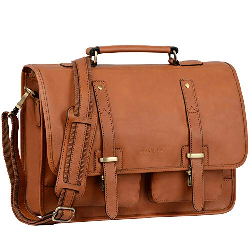 Banuce Vintage Full Grain Italian Leather Briefcase for Men 15.6 Inch Laptop Messenger Bag Attache Case Tablet Business Bag Shoulder Tote Handbag