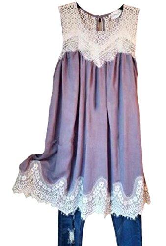 Coolred-femmes Dentelle Solide Robe Swing T-shirt Plissé Sans Manches Taille Plus Violet