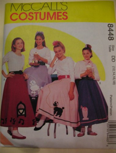 [McCall's 8448 Costumes Pattern Size 12,14,16,18 Poodle skirt petticoat soda fountain] (Make Poodle Skirt Costumes)