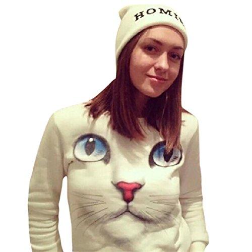 GBSELL Fashion Women Girl 3D Beads Cat SweatshirtLong Sleeve Blouse Tops (XL, -