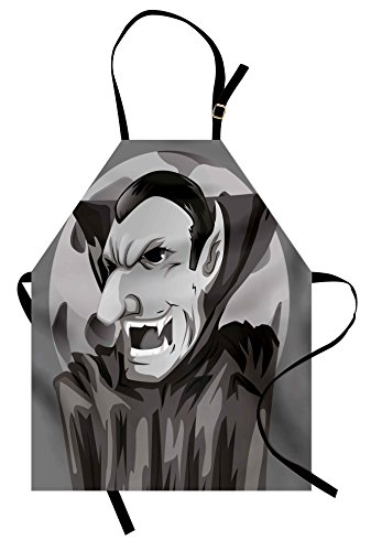 Lunarable Vampire Apron, Cartoon Style Count Dracula Angry Look Evil Expression Gothic Horror Monster, Unisex Kitchen Bib Apron with Adjustable Neck for Cooking Baking Gardening, Grey Black (Dracula Costume Images)