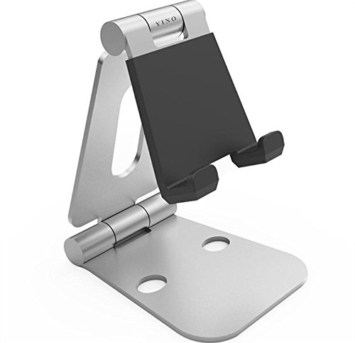 YINO Foldable Universal Multi-Angle Aluminum Phone/Tablet Video Game Stand Holder for Nintendo Switch,iPhone,iPad,Galaxy S7 S6,Note 6 5,LG,Sony,Nexus,iPad Pro,iPad Air,E-readers,Kindle (Silver)