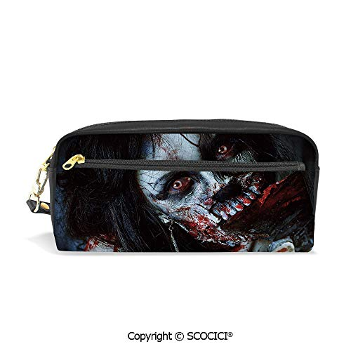 Girls Boys 3D Printed PU Pencil Case Holders Bag with Zipper Scary Dead Woman with Bloody Axe Evil Fantasy Gothic Mystery Halloween Picture Stationery Makeup Cosmetic Bags Back to School -