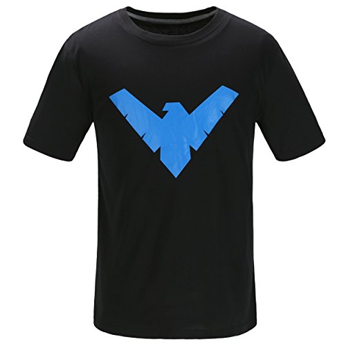 Justice League Batman Nightwing Logo T Shirt Short Sleeve With The Dick Grayson Symbol – Black and Blue DC Comics Superhero Apparel For Men – Made Of Soft Cotton and Polyester (Black, XXL)