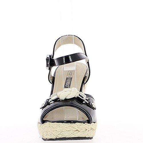 sandalias 11 Plataforma cuña cm y mujer tacón negra barnizado de qqIRw