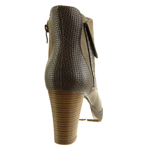 Bi Angkorly Khaki cm Block Booty Fashion Heel High Snakeskin Braided Boots Shoes Biker Women's Material Cavalier Ankle 8 AAxTq8r