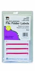 Charles Leonard Inc. File Folder Labels, 0.56 x 3.43 Inches, Red, 248/box (45230)