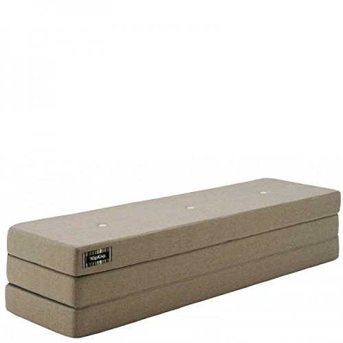 by KlipKlap 3 fold Multipurpose Furniture - Warm grey with peach button, Normal length 180 cm
