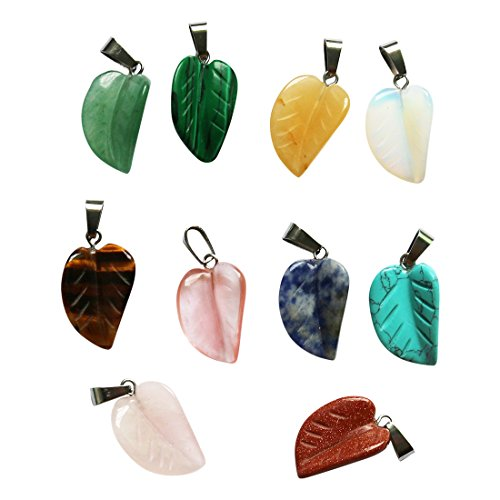 Glass Beads Leaf Pendant Necklace - Nature Stone Leaf Pendant Beads for Jewelry Carved Crystal Necklace Earring DIY (25)