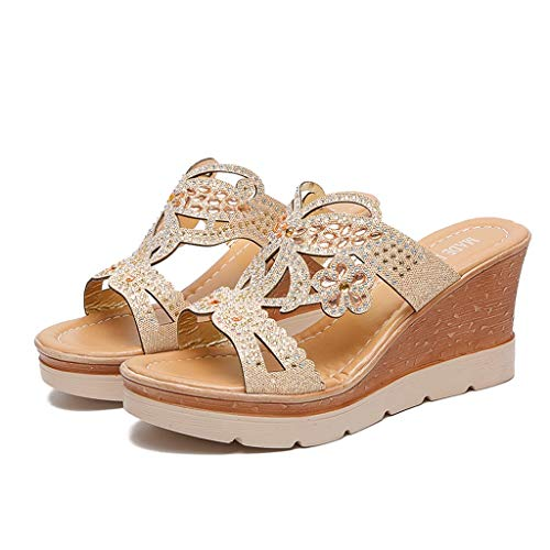 KESEELY Womens Boho Retro Wedges Shoes Round Toe Wedges Crystal Sandals ()