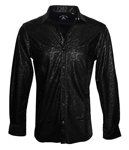Men's Faux Leather Long Sleeve Western Inspired Rock n Roll Shirt 372 (2XL) Black -
