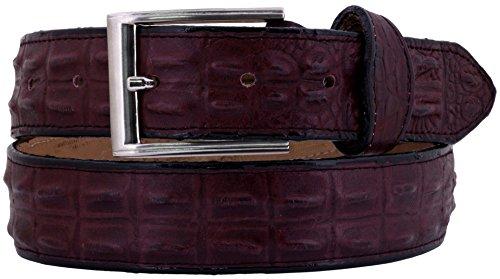 EL PRESIDENTE Cowboy Professional - Mens Burgundy Crocodile Hornback Print Leather Belt Silver ()