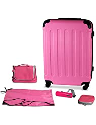 Pink 24 Inch Hard Shell Suitcase With Spinner Wheels and Accessories